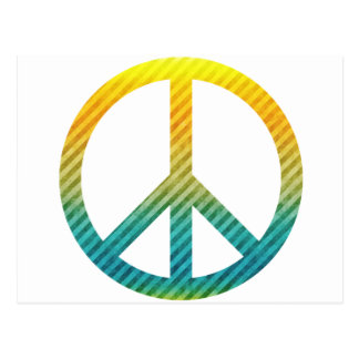 Peace Symbol Striped Yellow and Blue Post Cards