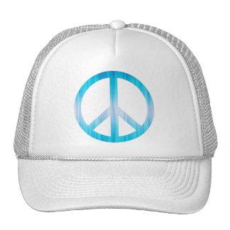 Peace Symbol Textured Light Blue Trucker Hats
