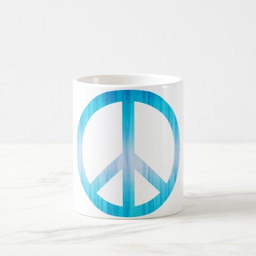 Peace Symbol Textured Light Blue Coffee Mugs