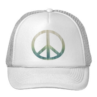 Peace Symbol Textured Pale Green and Blue Hats