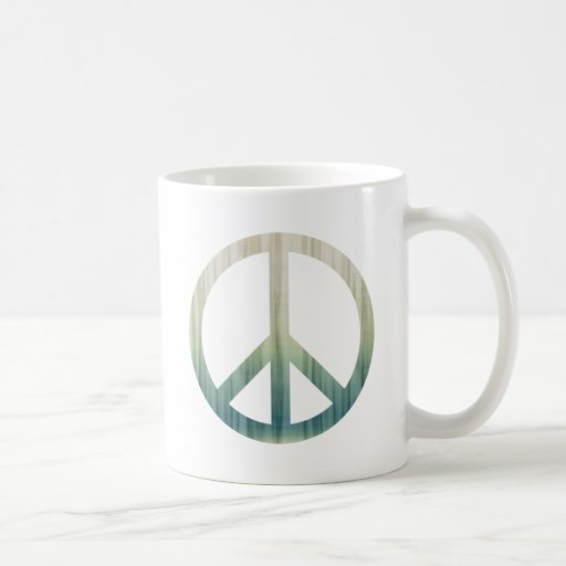 Peace Symbol Textured Pale Green and Blue Mug