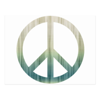 Peace Symbol Textured Pale Green and Blue Postcard