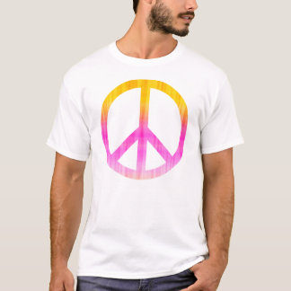 Peace Symbol Textured Pink and Orange T-Shirt