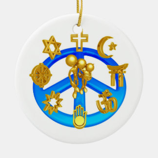 Peace Symbol Uniting All World Religions Round Ceramic Ornament