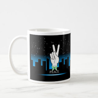 Peace Symbol with a City Background Classic White Coffee Mug