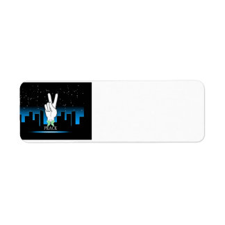 Peace Symbol with a City Background Return Address Label