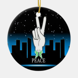 Peace Symbol with a City Background Round Ceramic Ornament