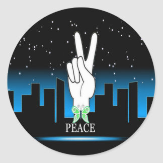 Peace Symbol with a City Background Round Sticker