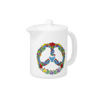 Peace symbol with flowers and stars pop-art style