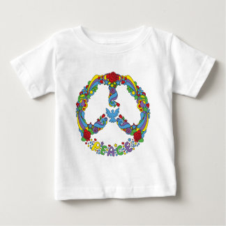 Peace symbol with flowers and stars pop-art style baby T-Shirt