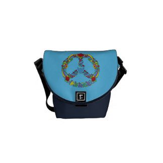 Peace symbol with flowers and stars pop-art style courier bag