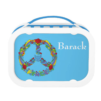 Peace symbol with flowers and stars pop-art style lunchbox