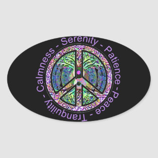 Peace Symbol with Peace, Harmony, Balance Oval Sticker