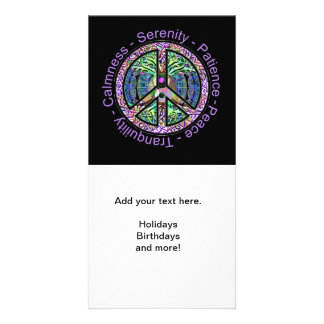 Peace Symbol with Peace, Harmony, Balance Picture Card