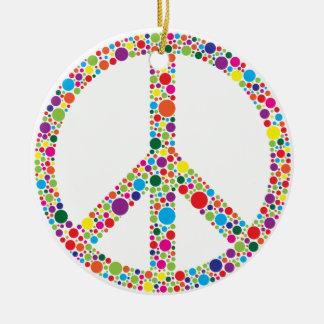 Peace Symbol with Polka Dots Illustration Round Ceramic Ornament