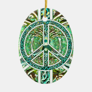 Peace Symbol, Yin Yang, Tree of Life in Green Ceramic Ornament