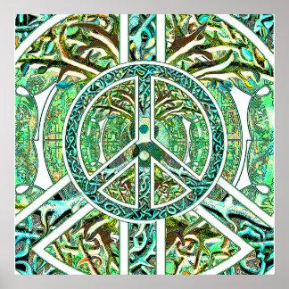 Peace Symbol, Yin Yang, Tree of Life in Green Poster