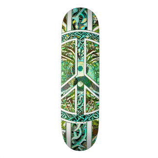 Peace Symbol, Yin Yang, Tree of Life in Green Skateboard Decks