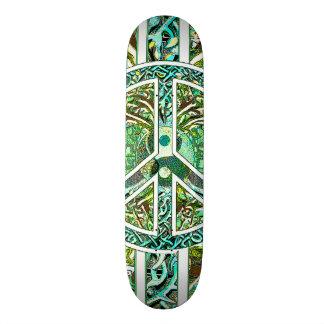 Peace Symbol, Yin Yang, Tree of Life in Green Skateboard Decks