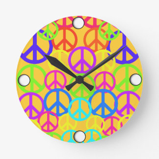 Peace Symbols Clock Retro Style