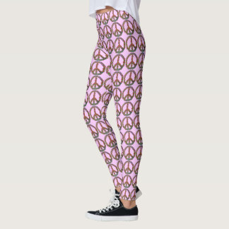 Peace Symbols Flowers Floral Pretty Pink Pattern Leggings