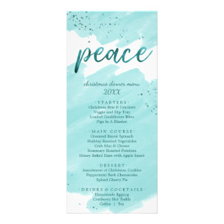 Peace | Teal Watercolor Christmas Dinner Menu Card