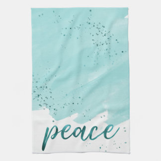 Peace | Teal Watercolor Christmas Kitchen Towel