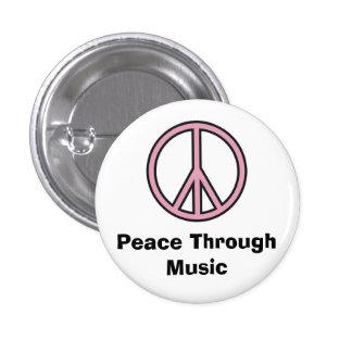 Peace Through Music 1 Inch Round Button