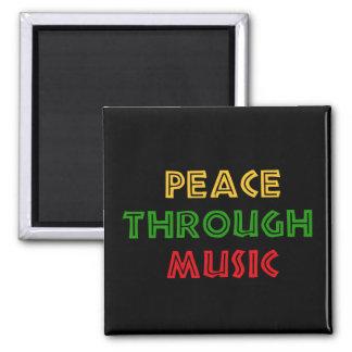 Peace Through Music Square Magnet