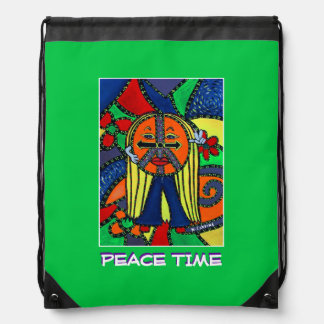 Peace Time - Bright Green -Time  Pieces Drawstring Bag