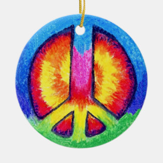 Peace To All! Round Ceramic Ornament