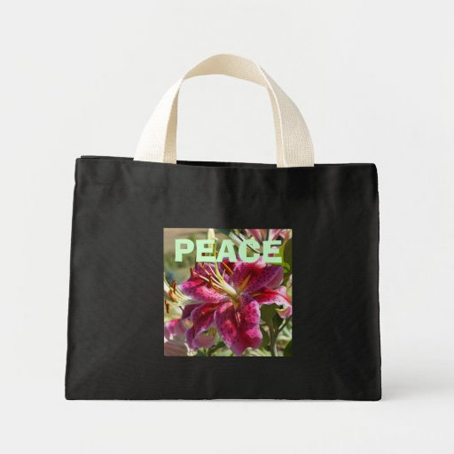 PEACE Tote Bags Pink Lily Flowers custom