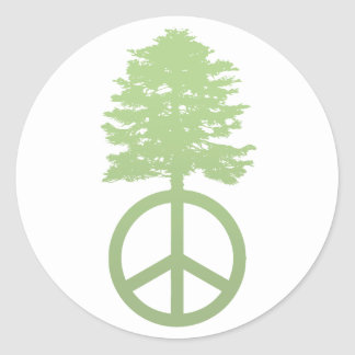 Peace Tree Classic Round Sticker