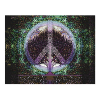 Peace Tree Mandala Heart Postcard