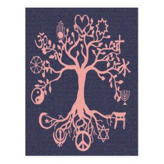 Peace Tree - Peach and Blue Postcard