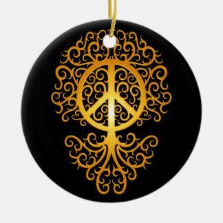 Peace Tree, yellow and black Ceramic Ornament