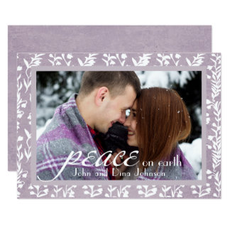 """Peace"" Trendy Calligraphy Holiday Photo Card"