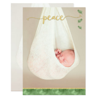 PEACE Typography | Green & Gold Watercolor | Photo Card