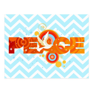 Peace Typography Text Design with Dove Postcard