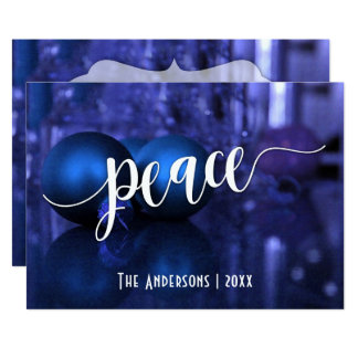 Peace Typography w/ Blue & Purple Glass Balls Card