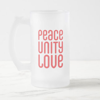 PEACE UNITY LOVE ♥ FROSTED GLASS BEER MUG