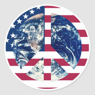 Peace USA sign sticker