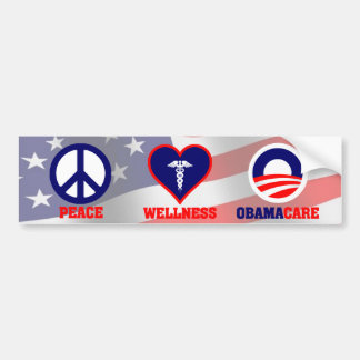 Peace, Wellness, Obamacare Bumper Sticker