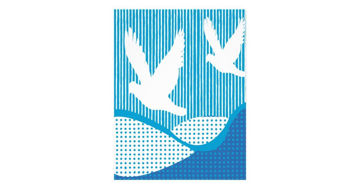 Peace White Doves Artsy Peace Scrapbook Paper Letterhead