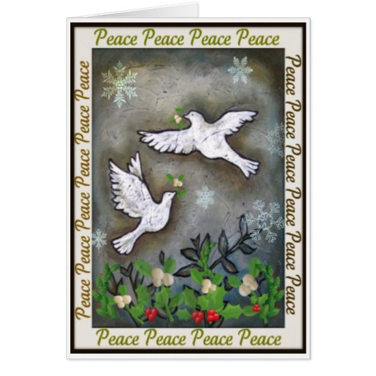 Peace White Doves Flying Card