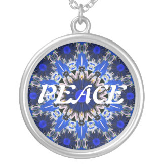 Peace With Blue Background Necklace