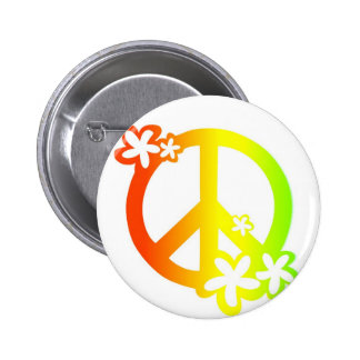 peace with flowers rasta colors 2 inch round button