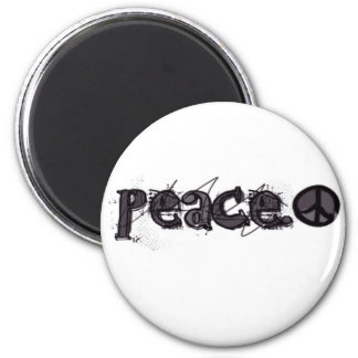 Peace With Symbol 2 Inch Round Magnet