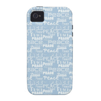 Peace Word Art Blue Case-Mate iPhone 4 Case