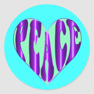 Peace word in a heart shape symbol stickers